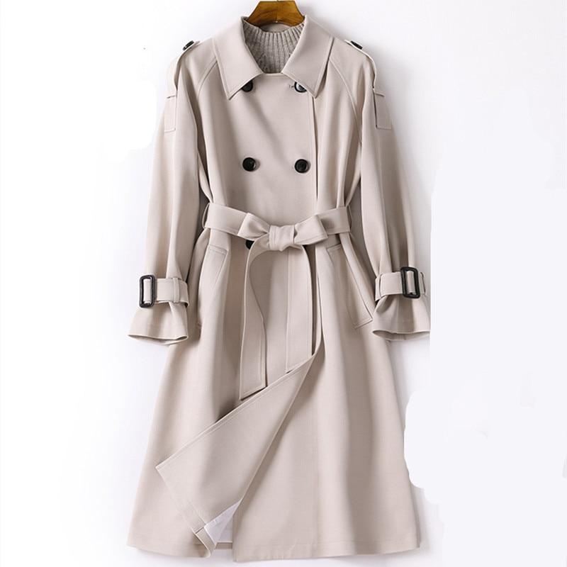 2019 Autumn Windbreaker Women,Casacos Femininos Alta Qualidade,Fashionable Women Double Breasted Long   Trench   Coat CH773