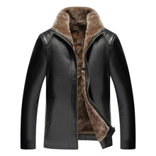 2019 Brand New arrival Mens Leather Jacket PU Coats Clothing Thermal Outerwear Fur Male Fleece Down Jackets