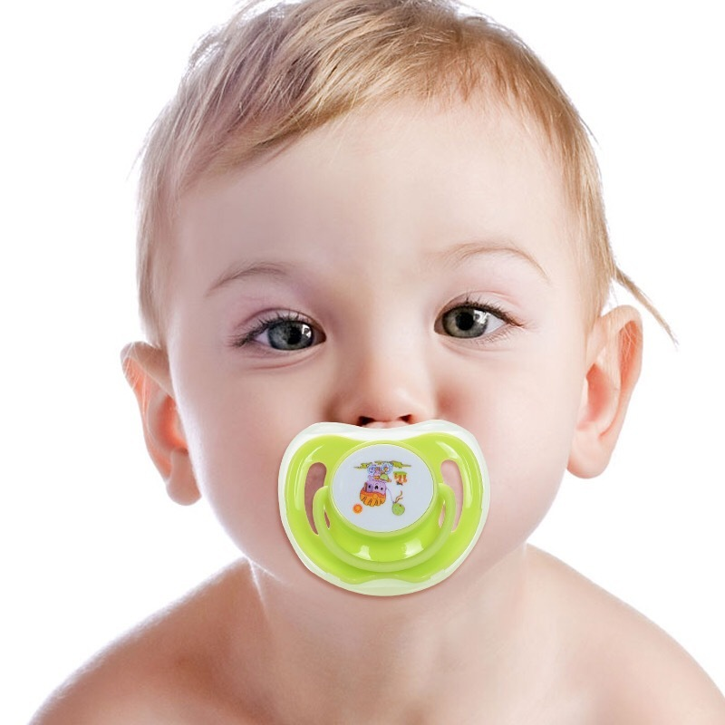 1PCS high quality silicone cotton cartoon baby pacifier safe food grade cute round and flat 4/colors
