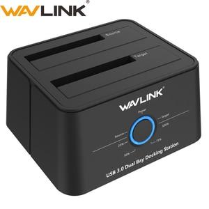 "Wavlink 2.5""3.5"" USB 3.0 SATA External Hard Drive Docking Station Dual Bay External Hard Drive Enclosure For 2*8 TB HDD SSD CASE(China)"