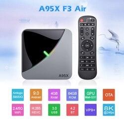 Inteligentny A95X F3 powietrza TV  pudełko procesor Amlogic S905X3 8K światło RGB Android 9.0 4GB 64GB podwójny Wifi 4K 60fps Netflix Youtube Smart TV A95X powietrza