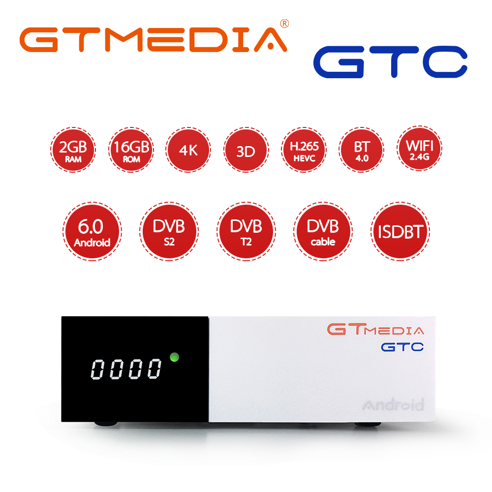 GTmedia GTC Android 6.0 TV BOX DVB-S2/T2/Cable/ISDBT Amlogic S905D 2GB RAM 16GB ROM Support Iptv M3u Cccam Satellite Receiver