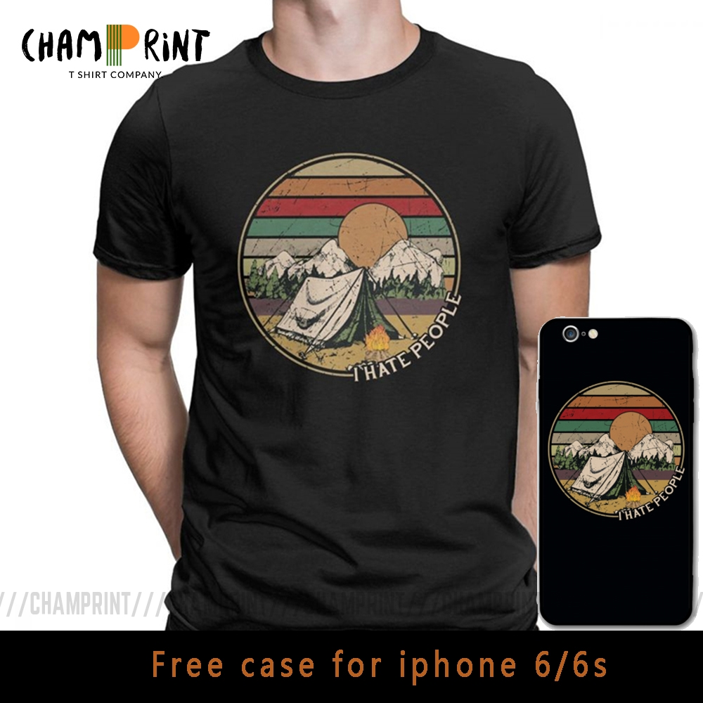 Love Camping I Hate People Vintage Funny T Shirts For Men Camping Hiking Short Sleeve Tops Gift Tees Cotton Crew Neck T-Shirt