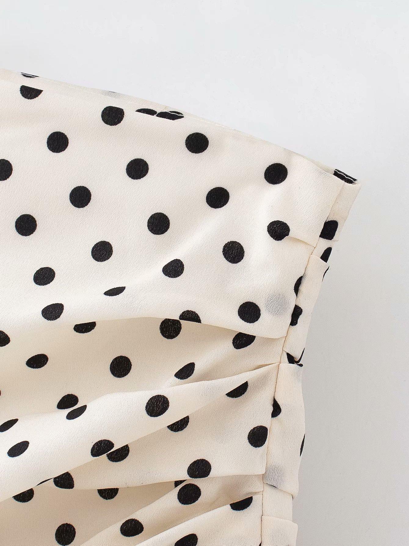 Polka Dot Print Pleated Asymmetrical Skirt 8