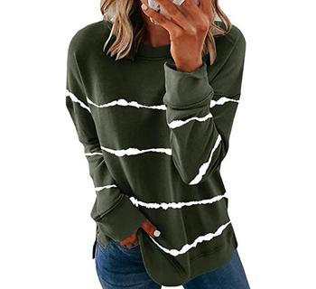 2020 New Autumn Tops 5XL Large Size Women Tie Dye Stripe T Shirt Casual Long Sleeve Oversized Loose Tee Shirt Fashion Ladies Top - style4, M