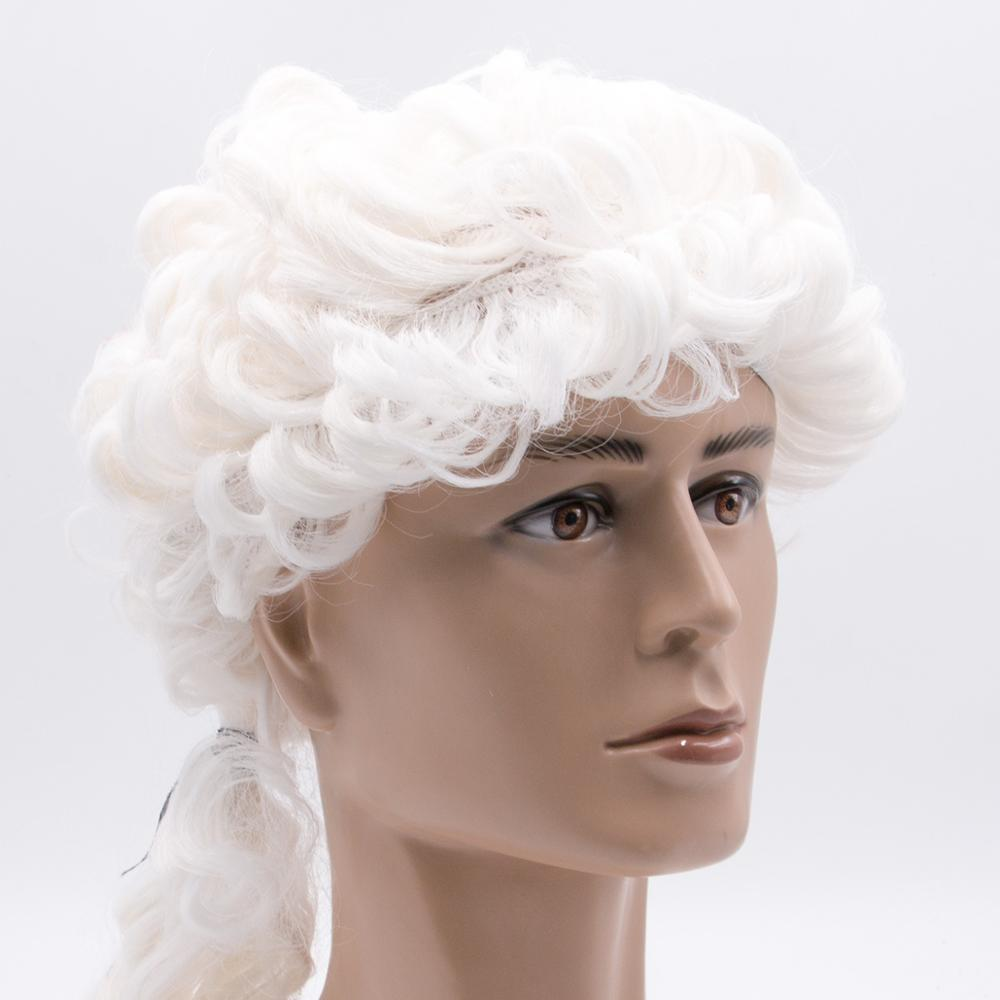 Small Waves Long Wig White Judger Ponytail Halloween Costume High Quality PET Funny Wigs Carnival Party Props Curl Synthetic Wig