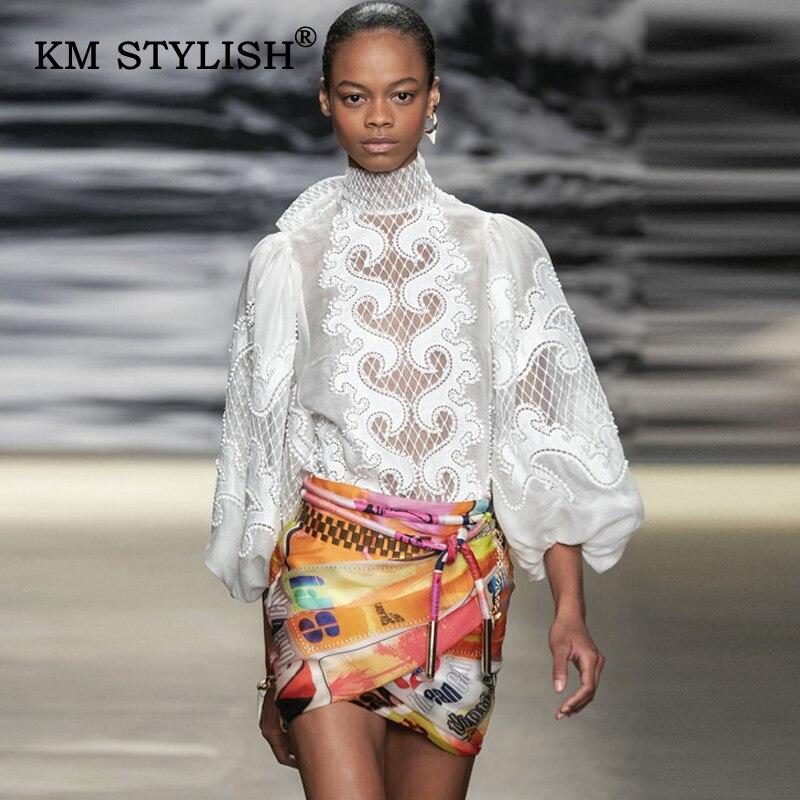 Nouveau femmes Blouse ZIMM blanc dentelle nœud dessus patchwork chemise femme lanterne-manches évider chemises de broderie en vrac