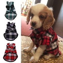 3 Colors Pet Puppy Dog Shirt Dogs Vests Plaid Stripe Jacket Cotton Plaid Shirt XXS-XL Simple and Modern Red Green and Blue 1PC(China)