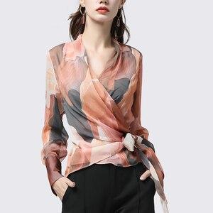 Image 3 - Chiffon Women Top Artistic Orange Print Sexy Slim Blouses Crossed V Neck Long Sleeve Fashion Ladies Summer Autumn Casual Blouse