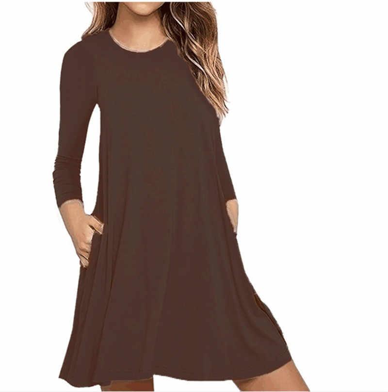 2020 frauen Mode Langarm Reine Farbe Dünne Baumwolle Kleider Herbst Lose Beiläufige Plus Größe Kleid Lange Hülse Grundlegende Kurze kleid