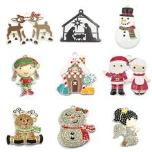 10 unids/bolsa aleación de Zinc serie de Navidad 2: muñeco de nieve de diamantes de imitación, Ángel niña esmalte Santa, alce, colgante de ciervo (elija el diseño primero)