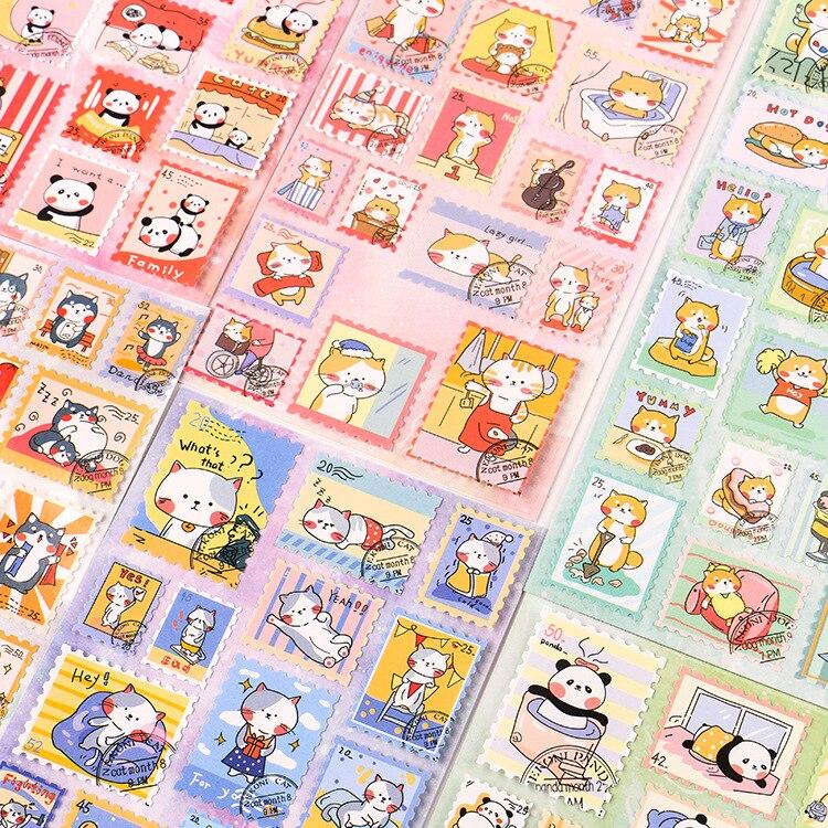 1 Pcs Cute Cartoon Shiba Inu Dog Cat Journal Decorative Stickers Scrapbooking Stick Label Diary Stationery Album Stamp Stickers