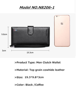 Image 2 - BISON DENIM luksusowej marki długi portfel męski posiadacz karty Cowskin męska torebka kieszeń na suwak jakości męska kopertówka z prawdziwej skóry N8206
