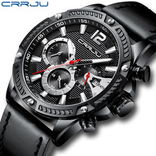 Horloge, Heren Horloge Crrju Top Merk Sport Waterdichte Horloges Analoge Chronograaf Mode Casual Lederen Horloge Voor Mannen(China)