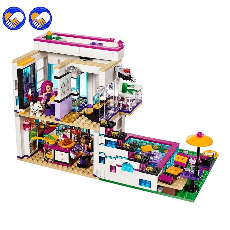 Compatible Legoinglys Friends 760 Uds Pop Star House Constructor modelo Kit bloques de juguete para niños niñas modelado de niños