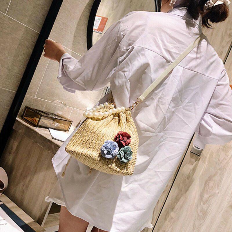 TOP Straw Bag Summer Beach Rattan Shoulder Bags Wicker Weave Handbag Holiday Travel Beach Portable Bag