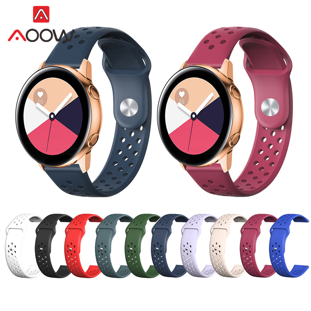 20mm Silicone Watchband For Samsung Galaxy Watch 42mm Active2 40mm 44mm Strap Bracelet Band For Active 2 Gear S2 Huami Amazfit