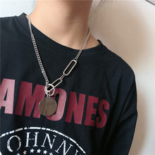 New Fashion Ins Personality Hip-hop Circle Hanging Necklace Women Party Gift Jewelry Silver Simple Clavicle Chain Choker Men(China)