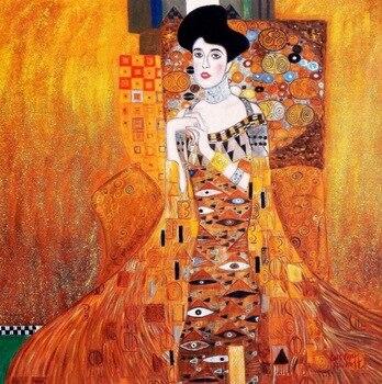 Modern Abstract 100%Handmade  gustav klimt adele bloch bauer (portrait of oil painting The kiss Klimt 30X30 inch