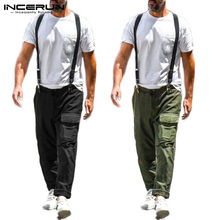 Incerun Fashion Pria Solid Suspender Jumpsuit Kasual Lurus Celana Hip-Hop Streetwear Mens Bib Romper Lari 2019(China)