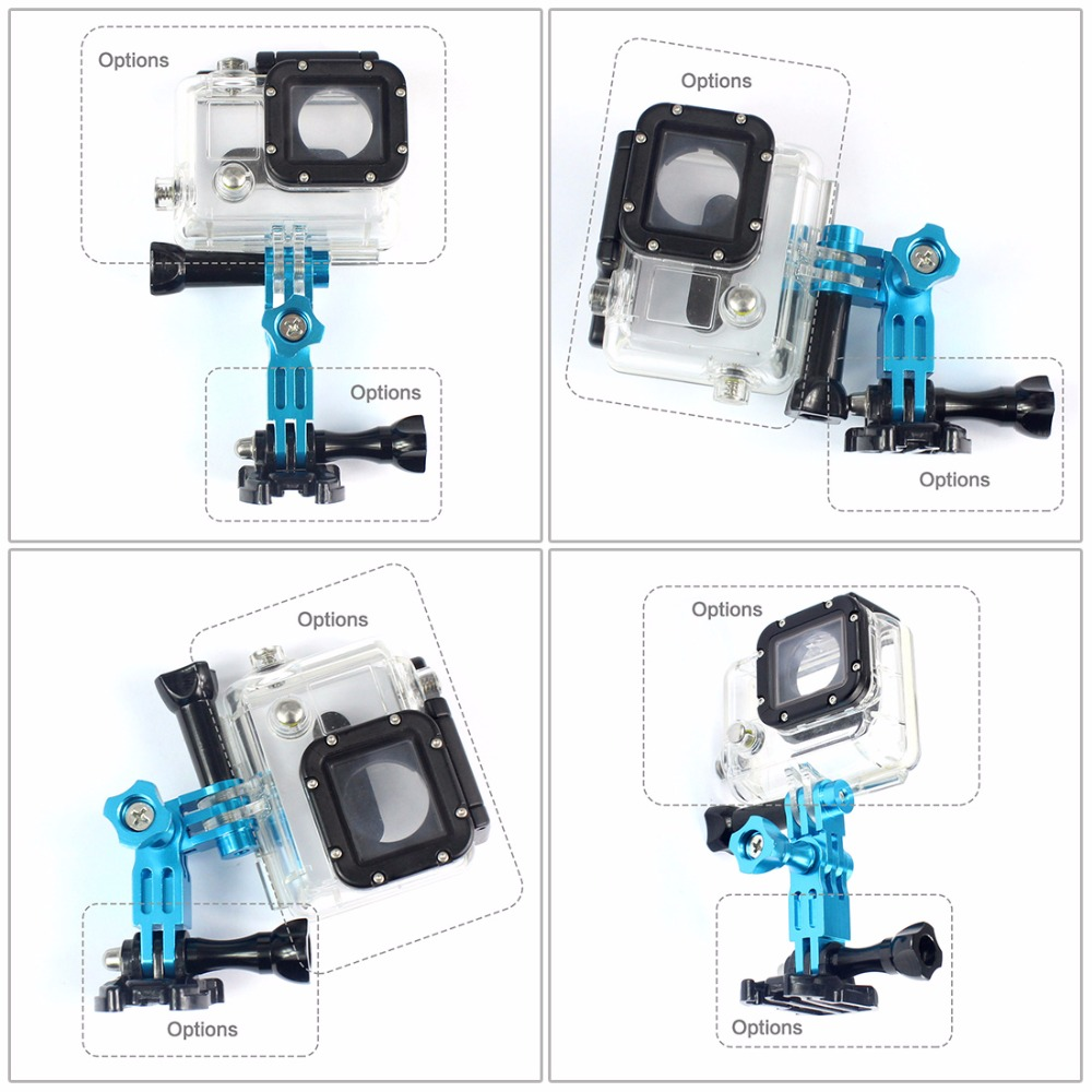Color : Magenta Camera Mounts /& Clamps Green Camera Products Aluminum Mount Three-Way Pivot Arm Set for GoPro HERO4 // 3+ // 3//2 // 1