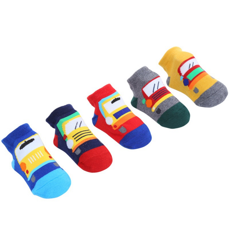Socks Set Short Tube Baby New Non-Slip Floor Sock Cute Cartoon Breathable Sweat (Different Colors 5 Pairs One Pack)