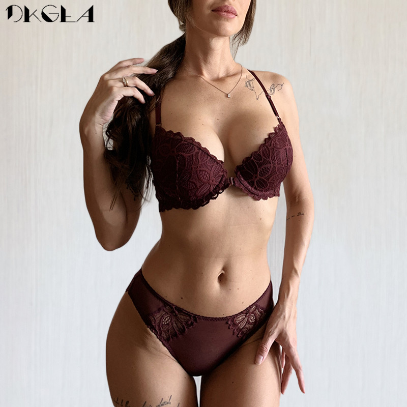 Front Closure Bras Lace Underwear Set Sexy Deep V Brassiere Thick Push Up Bra Panties Sets Embroidery Purple Women Lingerie Set