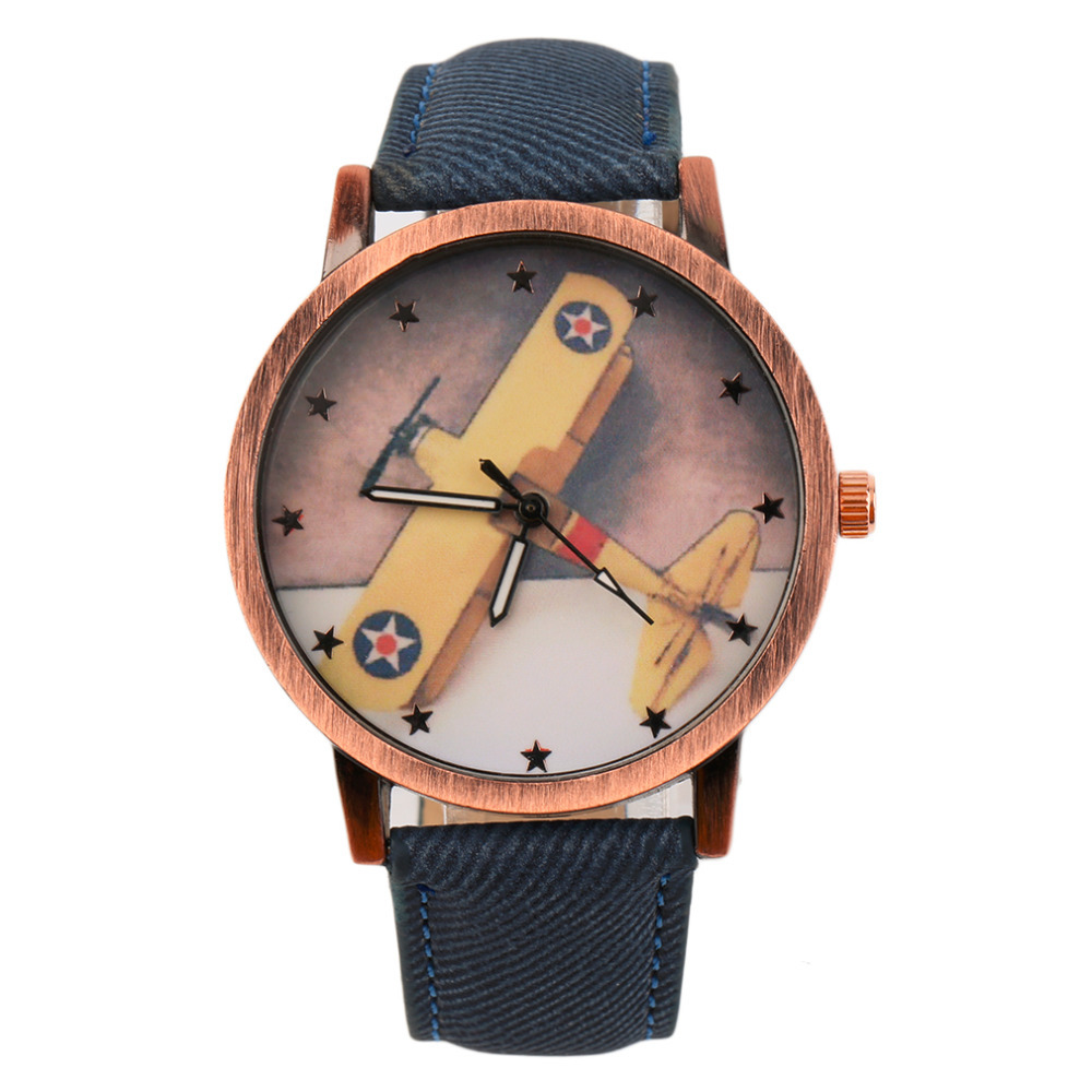 Retro Trendcy Worldwide Store Women Men Aircraft Pattern Denim Fabric Band Strap Round Dial Cheap Quartz Wrist Watches Relogio