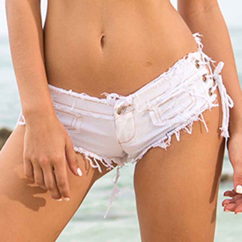 Shorts Women Sexy Summer Low Rise Shorts Sheath Short Feminino Hole Ladies Denim Shorts Adjustable Waist Circumference