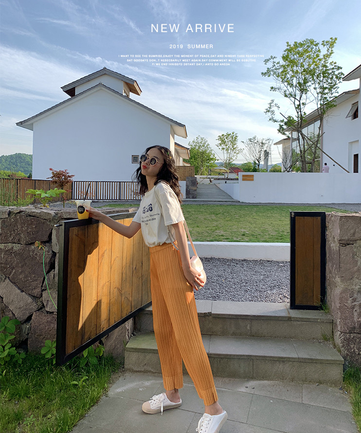 Japanese Miyake pleated   pants   drape pleated   wide     leg     pants   silky summer   pants   ice silk cool ultra-thin breathable casual   pants