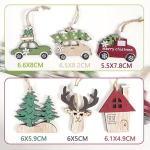 Image 3 - 2021 Navidad Noel ağacı araba dekor ahşap asılı kolye Elk Noel süslemeleri ev için yeni yıl Noel doğum günü hediyesi