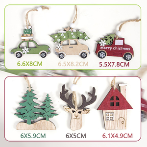 Image 3 - 2021ナヴィダードクリスマスツリー車の装飾木製ハンギングペンダントヘラジカクリスマスの装飾ホーム新年ノエル誕生日ギフト