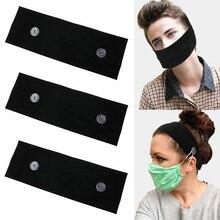 Women Yoga Elastic Headband Black Wide Turban With Buckle Knitted Cotton Hairband Girls Makeup Elastic Cloth Mask Holder