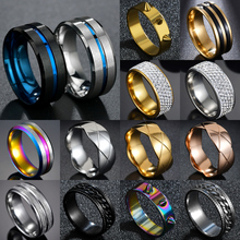 Charm Groove-Rings Stainless-Steel Hot-Sale Black/blue Male Jewelry Gift Available New