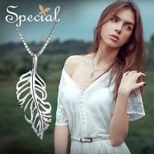 Special Brand Fashion 925 Sterling Silver Maxi Necklace Leaf Necklaces & Pendants European Style Jewelry Gifts for Women S1651N