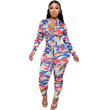 Camouflage Print Rompers Womens Jumpsuit Sexy Front Zipper Skinny Bodycon Body Overalls Casual Long Sleeve Club Party Bodysuits(China)