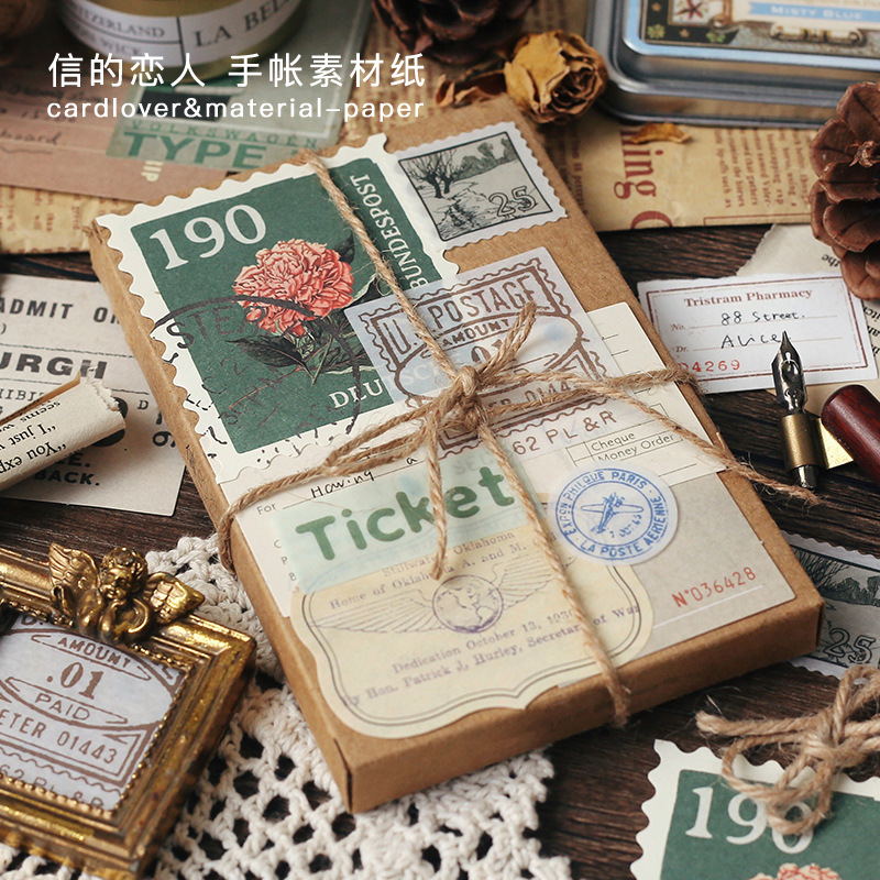 30 Pcs Vintage Stationery Stickers INS Style Diary Planner Decorative Mobile Stickers Scrapbooking S