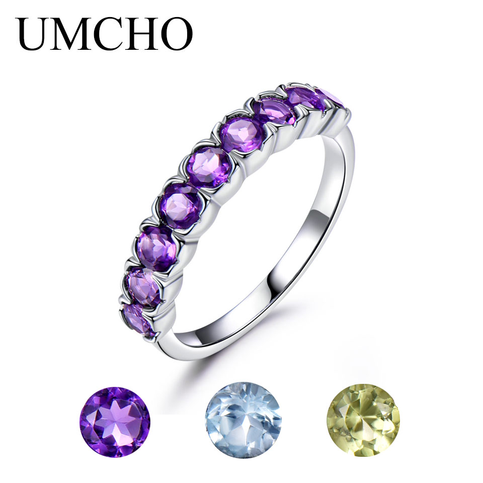 UMCHO Natural Amethyst Peridot Sky Blue Topaz Gemstone Rings For Women Genuine 925 Sterling Silver Birthstone Ring Romantic Gift