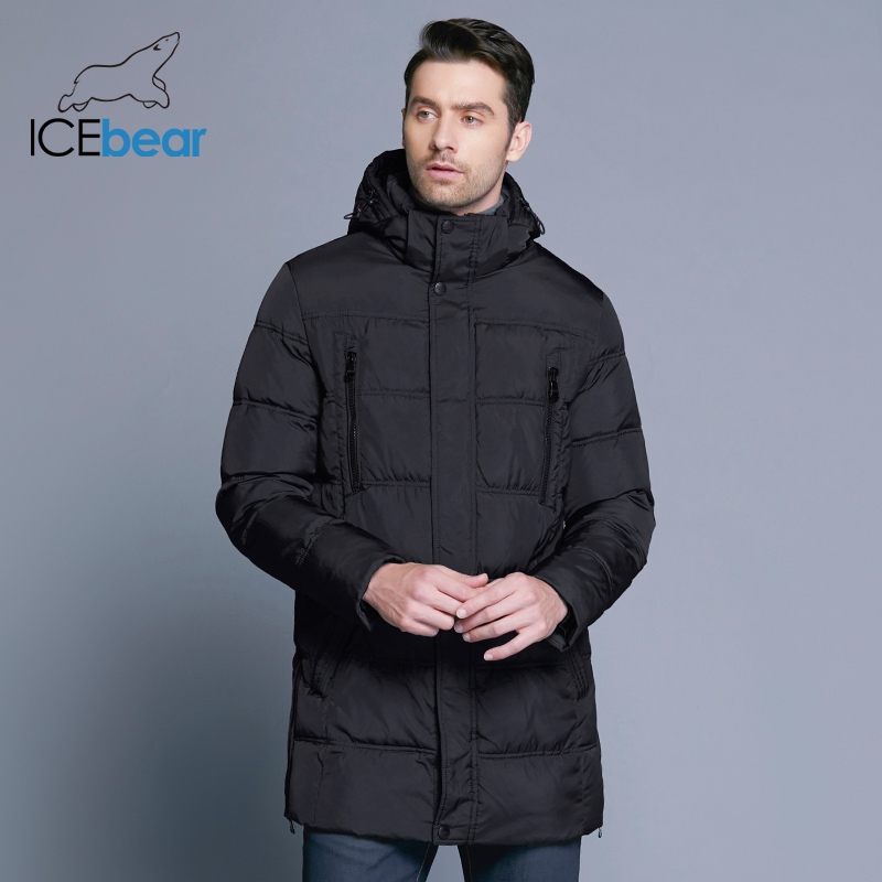 ICEbear 2019 Top qualité chaud hommes chaud hiver veste coupe-vent vêtements d'extérieur décontractés épais moyen Long manteau hommes Parka 16M899D