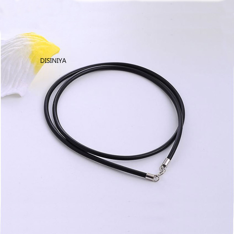 Black Rubber Leather Cord Rope Necklace Choker With 925 Sterling Silver Lobster Clasp Connector Buckle DIY Jewelry Accessories image