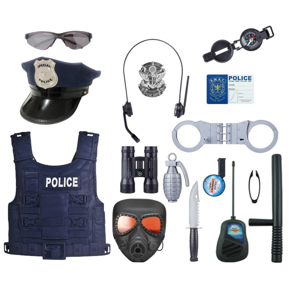 2019 The Newest 18Pcs/set Children Boys Pretend Play Simulation Police Officer Props Role Play Kit Cop Occupatio Toy Gift Set