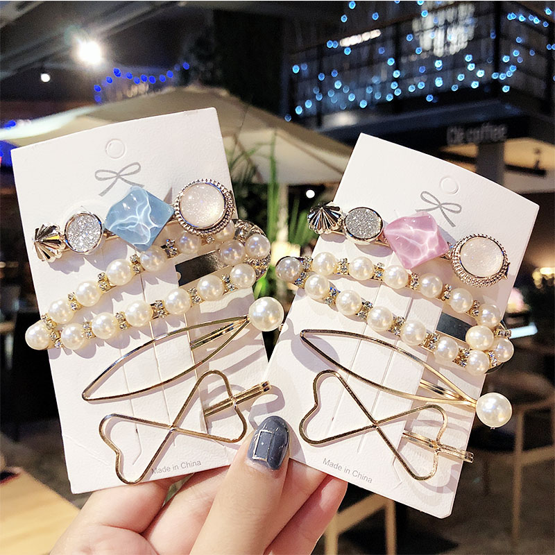 4PCS/Set New Elegant Geometric Pearls Acrylic Hair Clips For Women Sweet Hairpins Headband Barrettes Fashion Hair Accessories