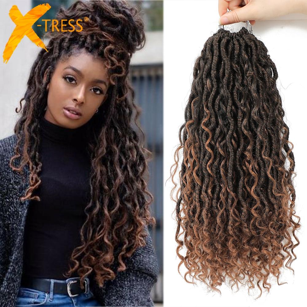 Tranças de crochê sintético cabelo paixão torção rio deusa trança extensão do cabelo ombre marrom falso locs com cabelo encaracolado X-TRESS