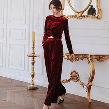 2019 Autumn Winter Two Piece Set for Women Solid Long Sleeve Velvet Blouse and Wide Leg Pants Elegant Vintage 2