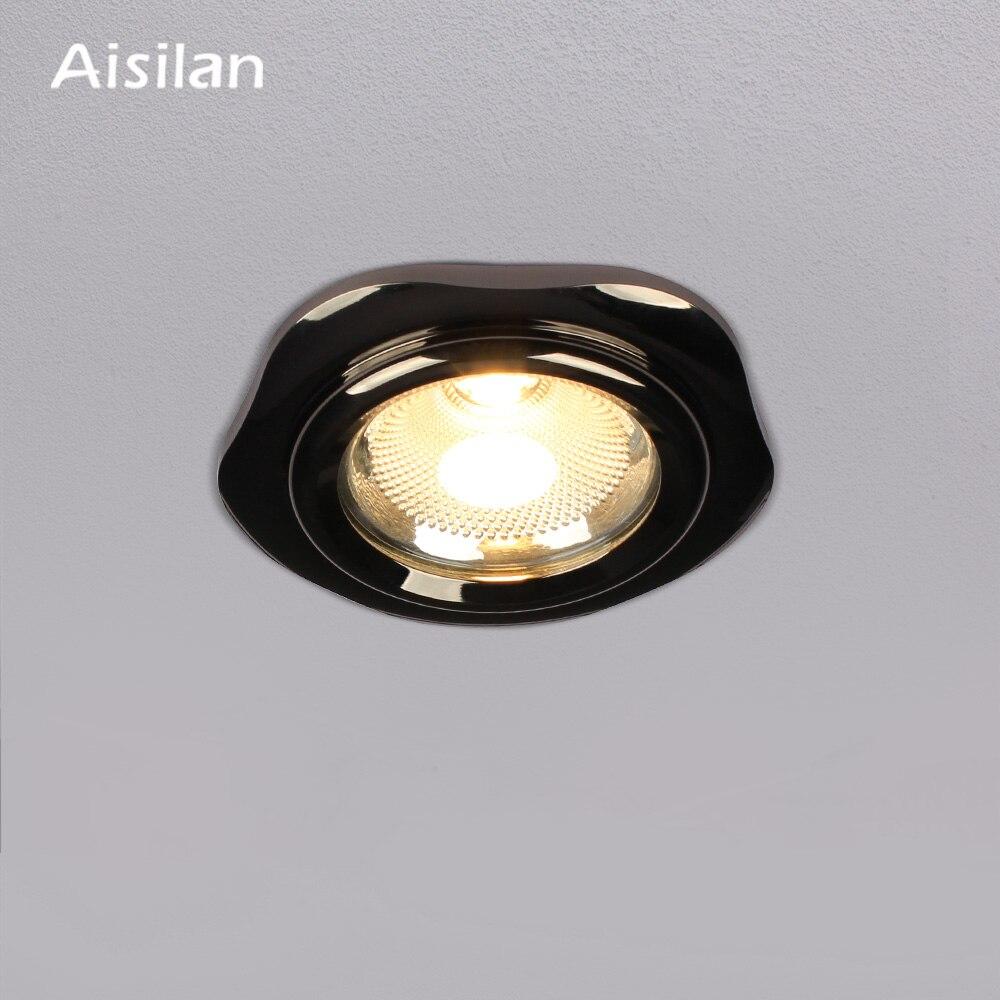 Aisilan led typu downlight Spot led Pearl czarny downlight Anti glare aluminium pentagonu wpuszczane led oświetlenie punktowe AC90 260V CRI> 93 w Oświetlenie wbudowane od Lampy i oświetlenie na a Aisilan Official Store