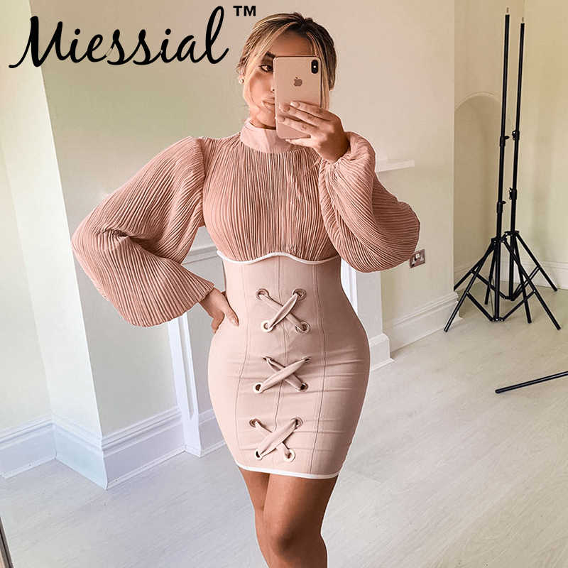 Miessial Roze gebreide bandage vintage jurken lange mouwen elegant party night dress Winter herfst sexy bodycon mini jurk