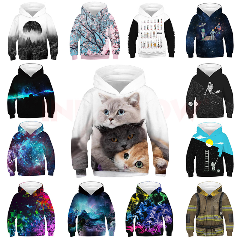 INPEPNOW Space 3D Print Astronaut Hoodies for Girl Sweat Shirt Cotton Clothes for Kids Hoodies for Boys Sweatshirt Pullovers 32 1