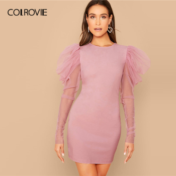 COLROVIE Pink Mesh Gigot Sleeve Bodycon Dress Women Sheer Sexy Backless Mini Dress 2020 Spring Slim Elegant Pencil Dresses 1