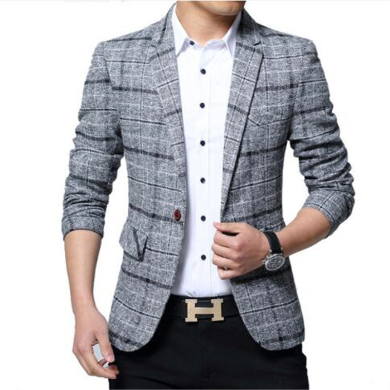 New Men Blazers 4XL 5XL Spring British Style Plaid Male Slim Fat Business Casual Blazer Coat Men Brand Outwear Jacket BF603