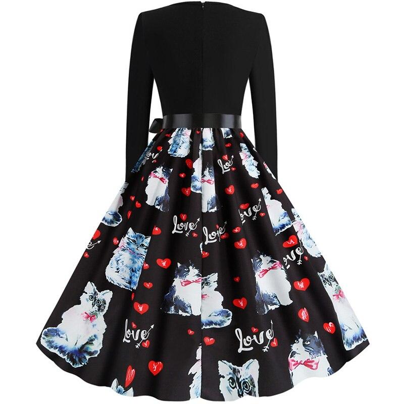 Women Long Sleeve Winter Vintage Dresses Sexy Black Music Note Print V-neck Rockabilly Pin up Party Dress Vestidos Plus size 607